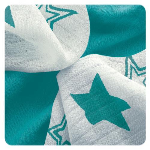 KIKKO Bambusové ubrousky XKKO BMB Turquoise Stars MIX 30x30 cm - 9 ks