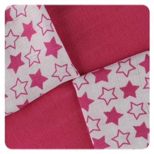 KIKKO Bambusové ubrousky XKKO BMB Little Stars Magenta MIX 30x30 cm - 9 ks