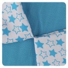 KIKKO Bambusové ubrousky XKKO BMB Little Stars Cyan MIX 30x30 cm - 9 ks