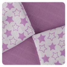 KIKKO Bambusové ubrousky XKKO BMB Little Stars Lilac MIX  30x30 cm - 9 ks