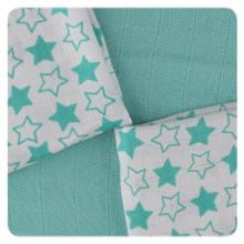 KIKKO Bambusové ubrousky XKKO BMB Little Stars Turquoise MIX 30x30 cm - 9 ks
