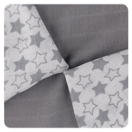 KIKKO Bambusové ubrousky XKKO BMB Little Stars Silver MIX 30x30 cm - 9 ks