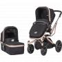 Sestava obsahuje podvozek LAMBDA v nové moderní barevné variantě, sportovní sedačku ERGO a hluboké lůžko AMIGO. Rámy všech komponent jsou barevně sladěny do exkluzivního odstínu rosegold doplněného o potah v černé barvě.