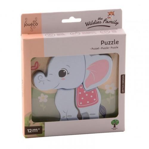 Jouéco The Wildies Family dřevěné mini puzzle Elephant 12m+