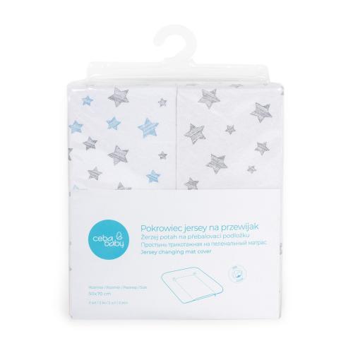 Ceba baby Žerzej potah na přebalovací podložku měkkou Grey Stars + Blue Stars 50x70 cm, 2 ks