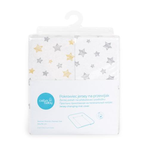 Ceba baby Žerzej potah na přebalovací podložku měkkou Grey Stars + Yellow Stars 50x70 cm, 2 ks