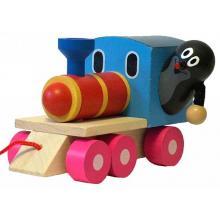 Detoa Krtek a mašinka/vlak dřevo 12 cm tahací v krabičce