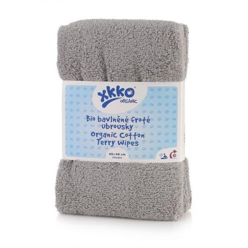 KIKKO BIO bavlněné froté ubrousky XKKO Organic 40x40cm Šedé, 2 ks
