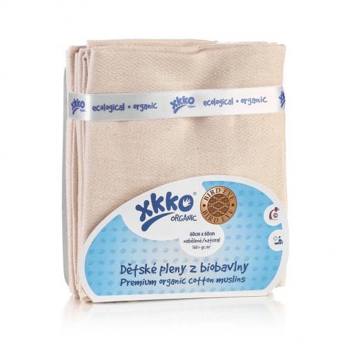 KIKKO Dětské pleny z biobavlny XKKO Organic 60x60cm Bird Eye - Natural, 5 ks