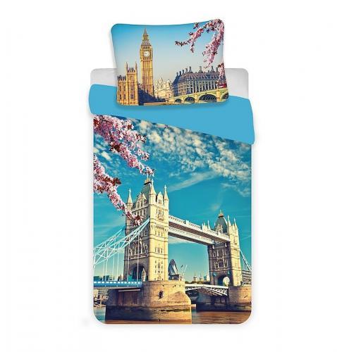 Jerry Fabrics Bavlněné povlečení Londýn blue, 140x200 cm