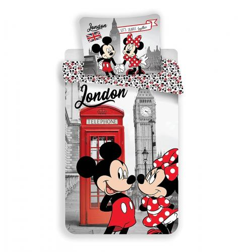 Jerry Fabrics Povlečení Mickey a Minnie Londýn Telephone 140x200 cm