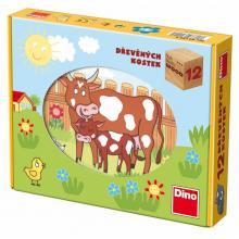 Dino Kubus Domácí zvířata, 12 kostek