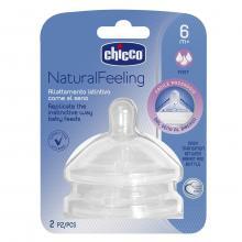Chicco Natural Feeling savička SILIKONOVÁ, rychlý průtok 6m+, 2 ks