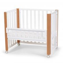 Kinderkraft Postýlka dřevěná Koya s funkcí ohrádky včetně matrací White