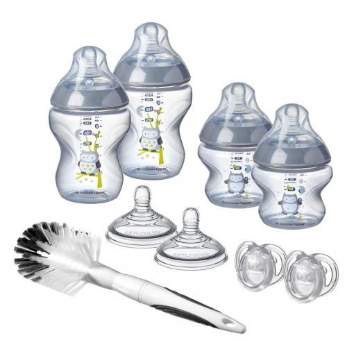 Tommee Tippee Sada kojeneckých lahviček C2N s kartáčem Sova