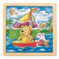 Bino Puzzle na desce - medvěd s myškou-Oli & Lea