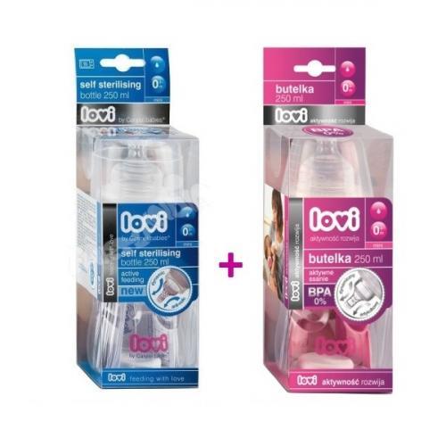 LOVI samosterilizující láhev 250 ml bez BPA + láhev 250 ml ZDARMA
