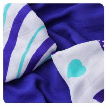 KIKKO Bambusové ubrousky (pleny) XKKO®BMB Hearts&Waves Ocean Blue MIX 30x30 cm - 9ks