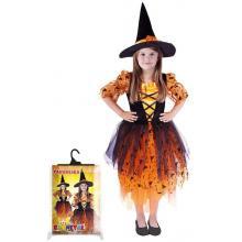 Karnevalový kostým čarodějnice oranžová, klobouk, vel. M