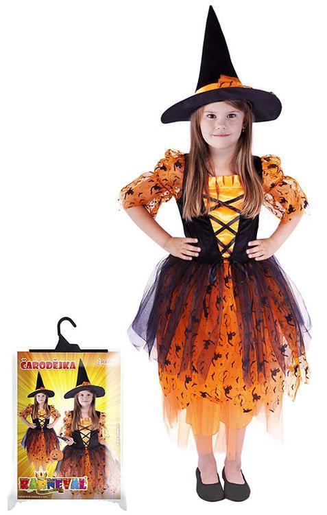 48ebcb55b Parádní karnevalový kostým s motivem čarodějnice v oranžovo-černé barvě a velikosti  M je určen