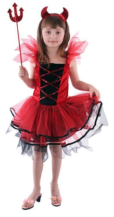 c5c788d3f887 Pekelný karnevalový kostým s motivem čertice v červeno-černé barvě s  flitrovaným zdobením ve velikosti