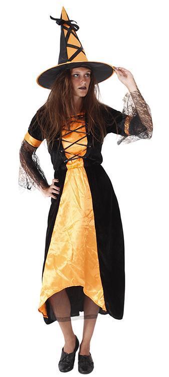 c989e9d9b56b Parádní karnevalový kostým pro dospělé s motivem čarodějnice v černo-zlaté  barvě a velikosti S