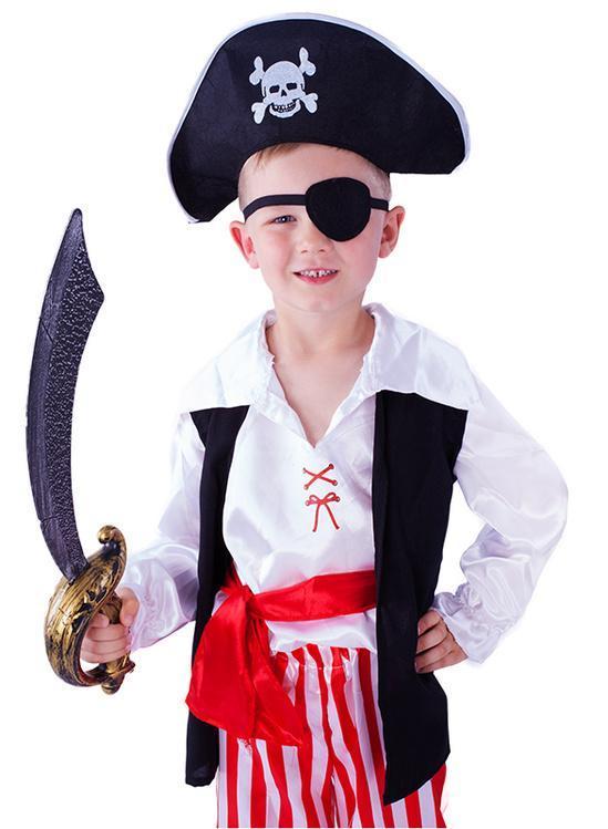 Parádní karnevalový kostým pro piráty! Kostým velikosti M je určen pro  chlapečky ve věkovém rozmezí 6ec534d0146