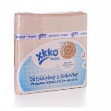 KIKKO Dětské pleny z biobavlny XKKO Organic 70x70cm Bird Eye - Natural, 5 ks