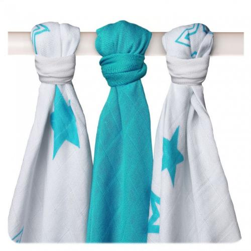 KIKKO Bambusové pleny XKKO BMB Turquoise Stars MIX 70x70cm - 3ks