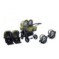 Kočárek DorJan Danny Sport Twin Linen + 2x autosečka Cybex Aton Silver Line + adaptér