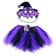 Karnevalový kostým čarodějnice fialová - sukně, maska