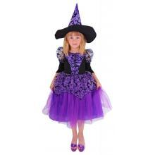 Karnevalový kostým čarodějnice fialová s rukávy/Halloween, vel. M