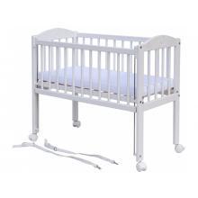 Scarlett Dětská postýlka k posteli rodičů Baby bílá, stahovací bok, borovice