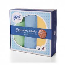KIKKO Biobavlněné dětské osušky XKKO Staré časy 90x100 Pastels pro kluky, 3 ks