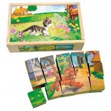 Bino Obrázkové kostky- Domácí zvířátka, 15 ks