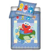 Carbotex povlečení do postýlky Sesame Street modrá 135x100 cm