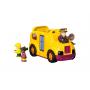 Školní autobus s otvíracími dveřmi a vyndavacími postavičkami. Zmáčknutím řidiče autobus nastartujete, zatroubí, rozsvítí světla a rozjede se.