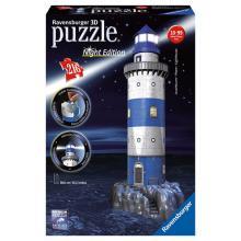 Ravensburger puzzle Maják v příboji 3D - noční edice 216 dílků