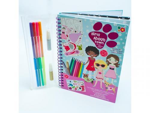 Meadow Kids Kreslicí kniha se samolepkami Holčičky ve městě