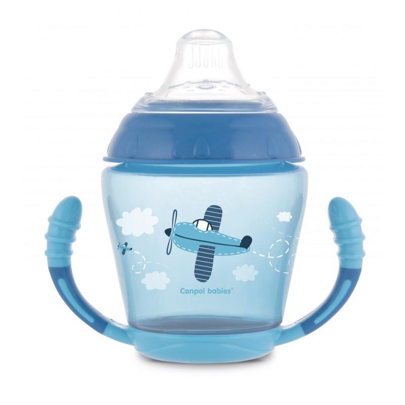 Canpol babies nevylévací hrníček se silikonovým pítkem a úchyty 230ml TOYS - modrá