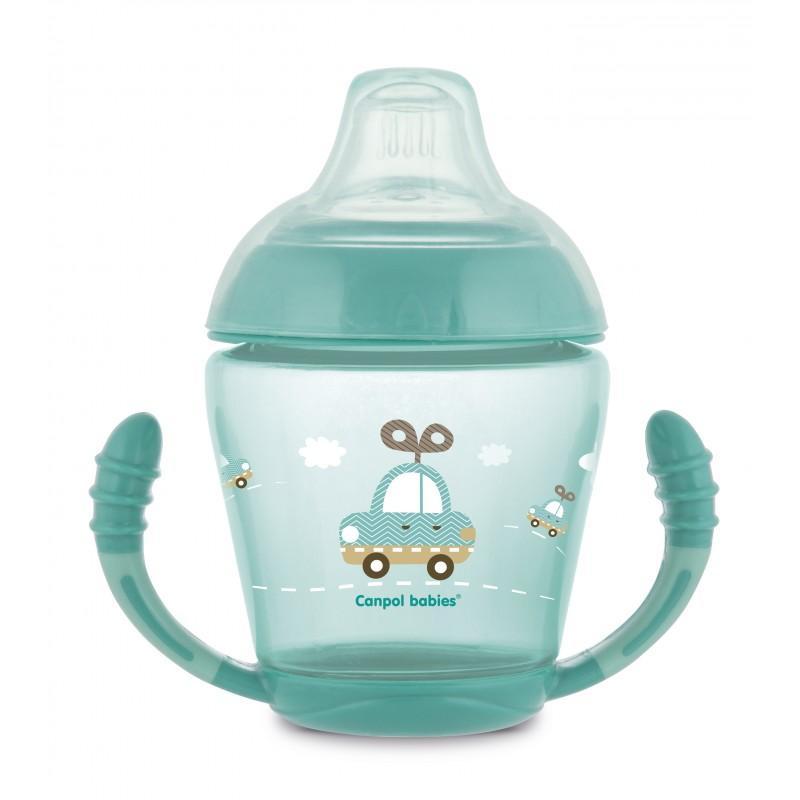Canpol babies nevylévací hrníček se silikonovým pítkem a úchyty 230ml TOYS - tyrkysová