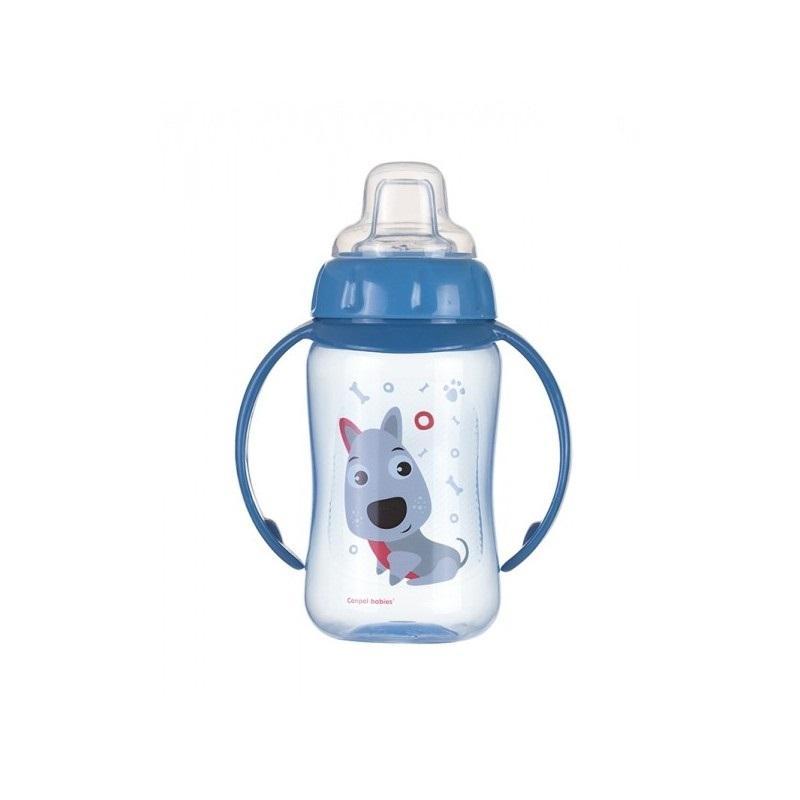 Canpol babies tréninkový hrníček CUTE ANIMALS se silikonovým pítkem a úchyty - pejsek