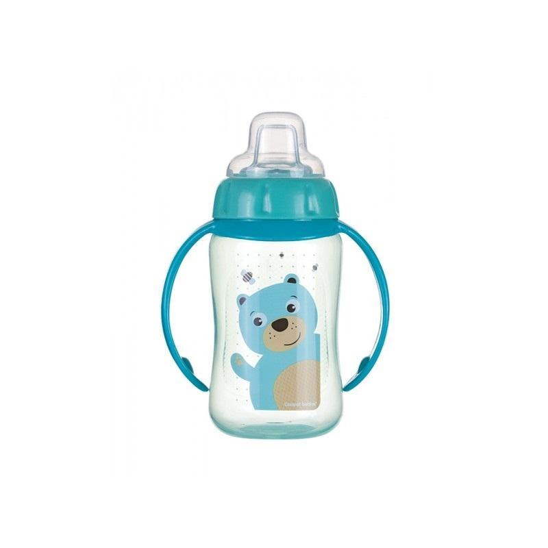 Canpol babies tréninkový hrníček CUTE ANIMALS se silikonovým pítkem a úchyty - medvídek