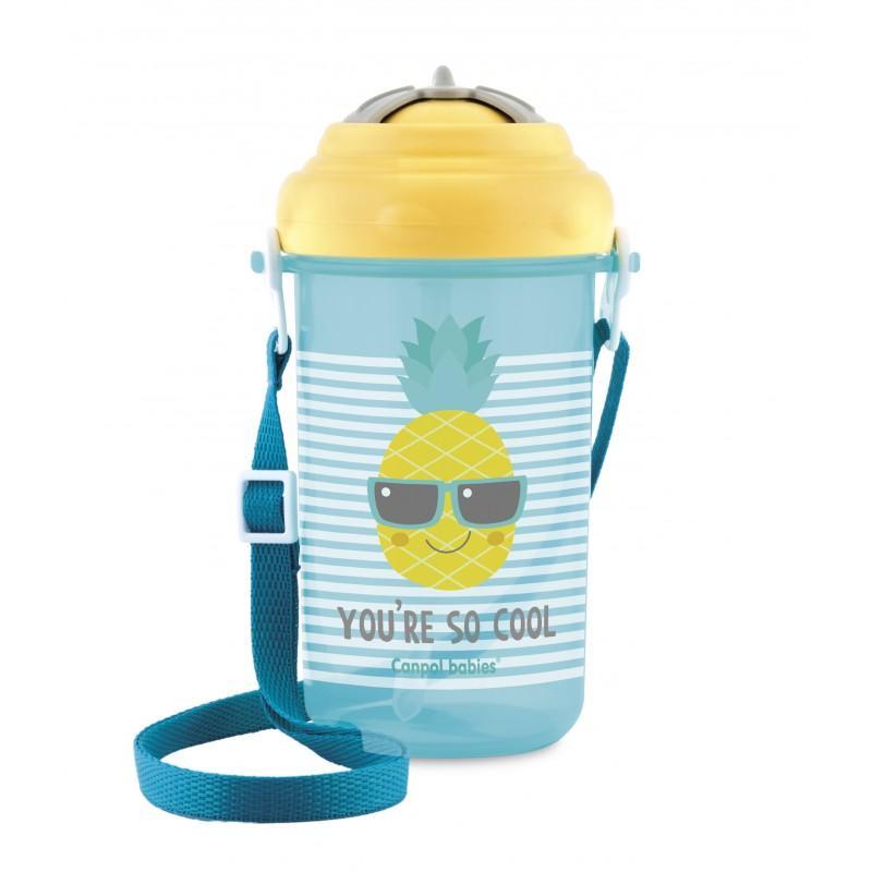 Canpol babies Cestovní sportovní láhev se slámkou a víčkem SO COOL 400 ml - Ananas
