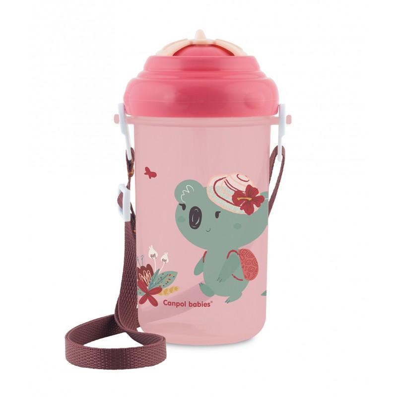 Canpol babies Cestovní sportovní láhev se slámkou a víčkem Koala 400 ml - růžová*