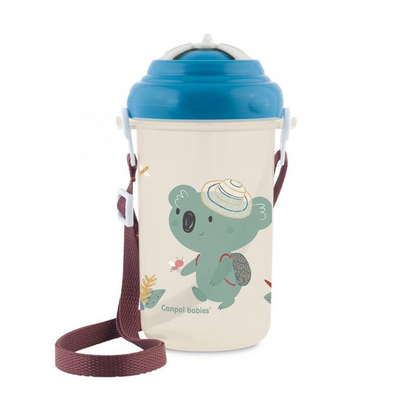 Canpol babies Cestovní sportovní láhev se slámkou a víčkem Koala 400 ml - modrá