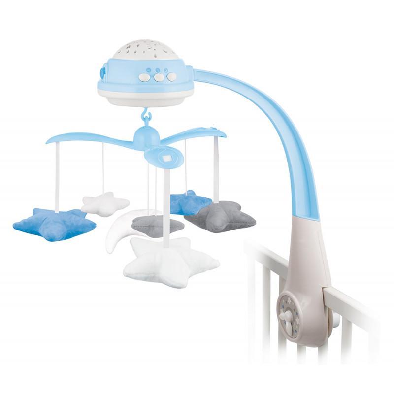 Canpol babies kolotoč plyšový s projektorem Hvězdičky - modrá