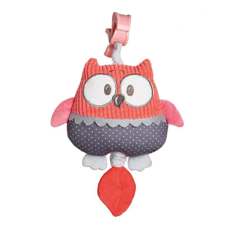 Canpol babies Plyšová hrací skříňka PASTEL FRIENDS - červená sova