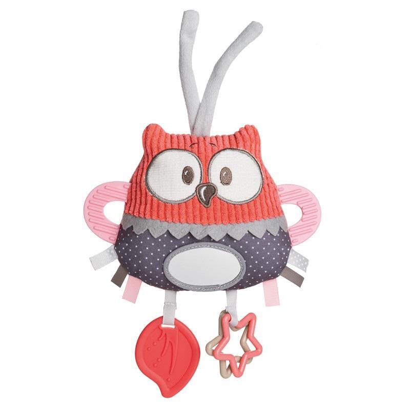 Canpol babies Plyšová edukační zavazovací hračka PASTEL FRIENDS - červená sova