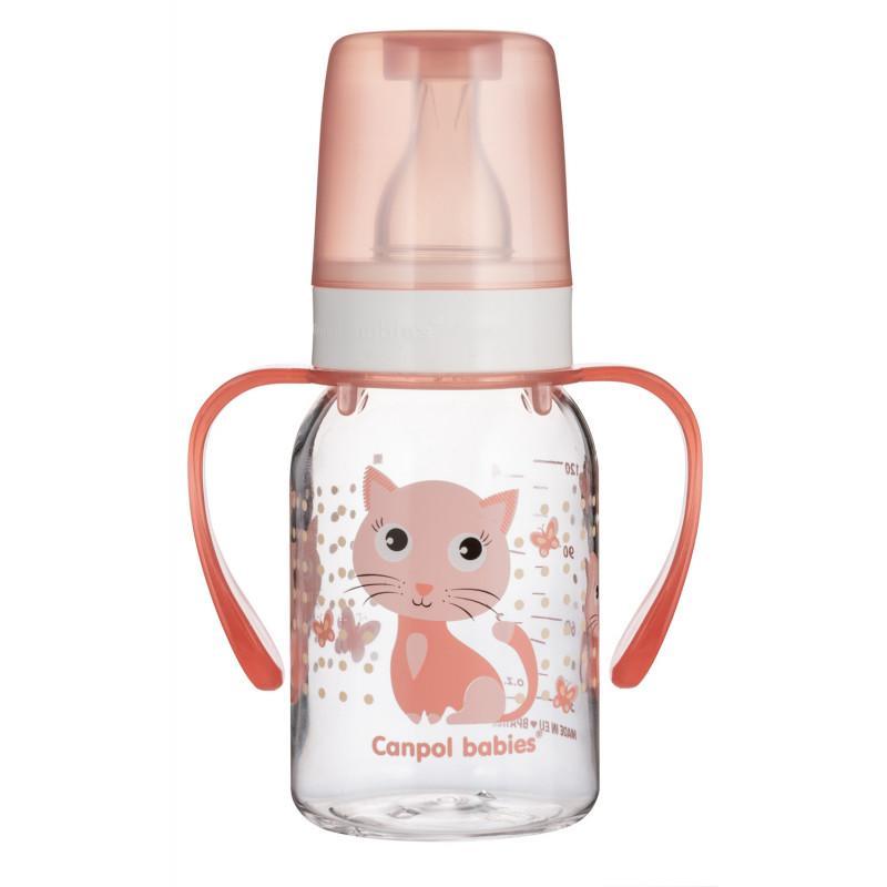 Canpol babies láhev s potiskem CUTE ANIMALS 120 ml a úchyty - Kočička
